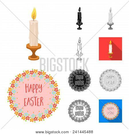 Easter Is A Christian Holiday Cartoon, Black, Flat, Monochrome, Outline Icons In Set Collection For