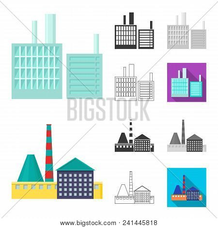 Factory And Facilities Cartoon, Black, Flat, Monochrome, Outline Icons In Set Collection For Design.