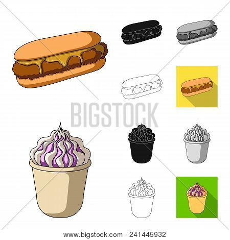 Fast Food Cartoon, Black, Flat, Monochrome, Outline Icons In Set Collection For Design.food From Sem