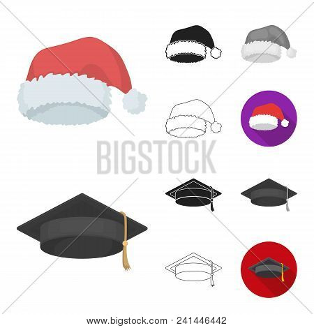Different Kinds Of Hats Cartoon, Black, Flat, Monochrome, Outline Icons In Set Collection For Design