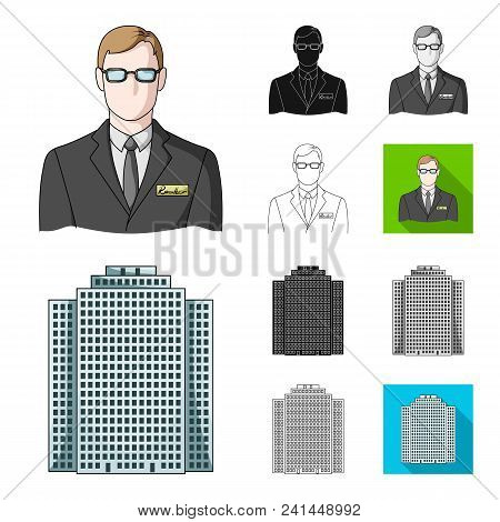 Realtor, Agency Cartoon, Black, Flat, Monochrome, Outline Icons In Set Collection For Design. Buying