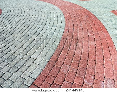 Close-up Paving Slabs By Mosaic. Road Paving, Construction. Tessellated Sidewalk Tile. Colored Concr
