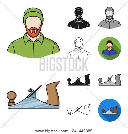 Sawmill And Timber Cartoon, Black, Flat, Monochrome, Outline Icons In Set Collection For Design. Har