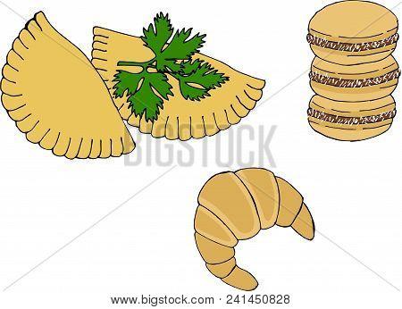 Argentine National Cuisine Such As Empanadas, Alfajor Cookies And Medialuna. Vector Illustration On