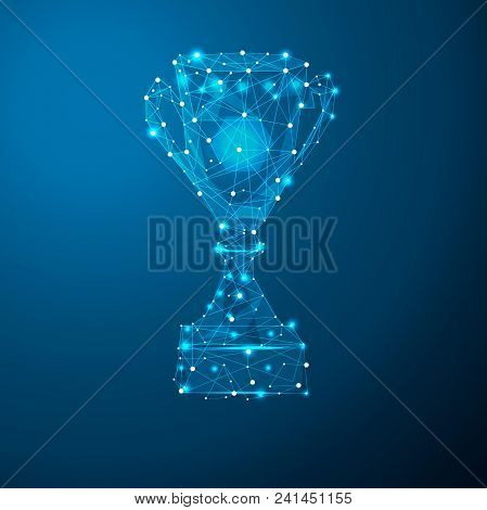 Abstract Polygonal Light Trophy Cup Sign In The Form Of A Starry Sky Or Space, Consisting Of Points,