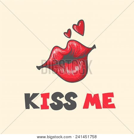 Lips Kiss. Vector Patch, Sticker Isolated On White. Cool Sexy Red Kissed. Selphie Cartoon Sign For P