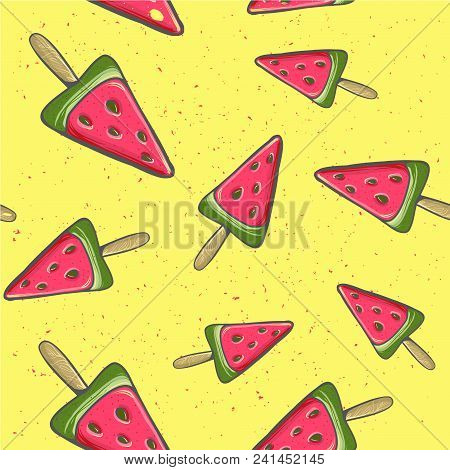 Seamless Background With Watermelon. Watermelon On A Stick. Vector Illustration. A Simple Pattern. S