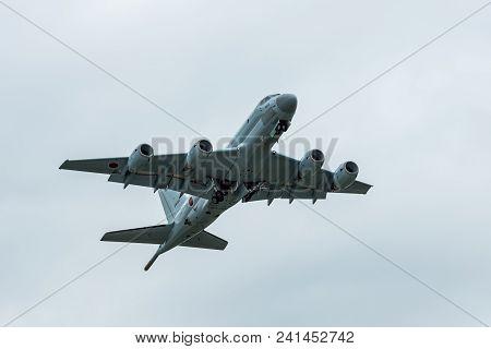 Berlin, Germany - April 26, 2018: Demonstration Flight Of The Maritime Patrol Aircraft Kawasaki P-1.