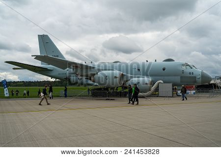 Berlin, Germany - April 26, 2018: Maritime Patrol Aircraft Kawasaki P-1. Japan Maritime Self-defense