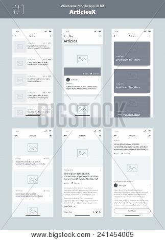 Wireframe Kit For Mobile Phone. Mobile App Ui, Ux Design. New Os Articles. Blog, List And Articles S