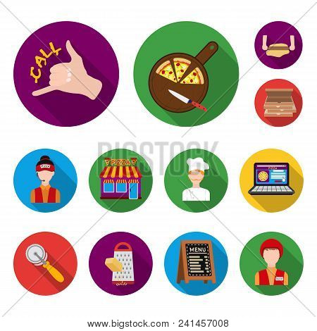 Pizza And Pizzeria Flat Icons In Set Collection For Design. Staff And Equipment Vector Symbol Stock