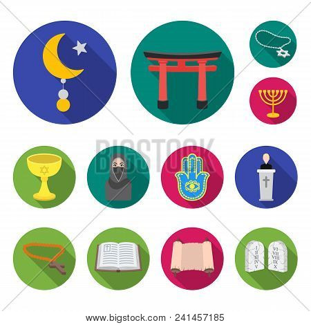 Religion And Belief Flat Icons In Set Collection For Design. Accessories, Prayer Vector Symbol Stock