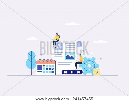 Engaging Content, Blogging, Media Planning, Promotion In Social Network Concept. Flat Vector Illustr