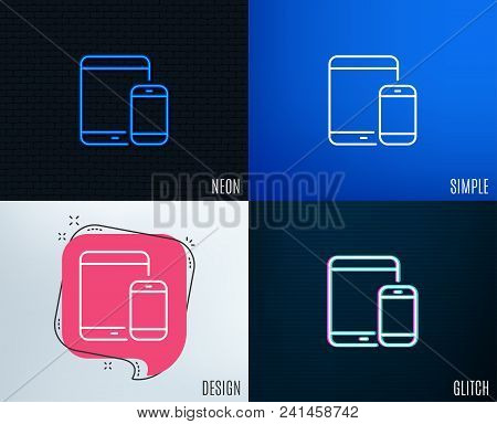 Glitch, Neon Effect. Mobile Devices Icon. Smartphone And Tablet Pc Signs. Touchscreen Gadget Symbols