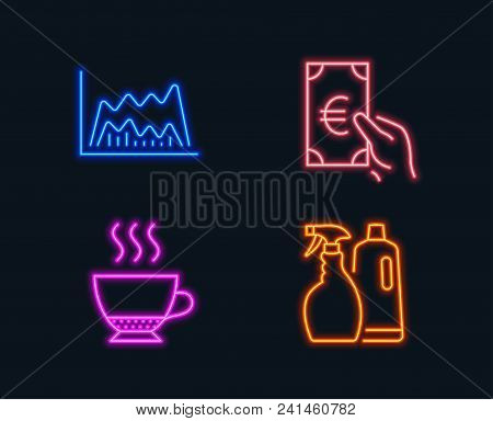 Neon Lights. Set Of Espresso, Trade Chart And Finance Icons. Shampoo And Spray Sign. Hot Drink, Mark