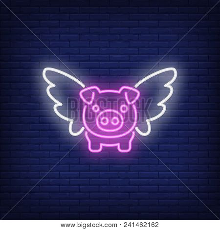 Flying Pig Cartoon Character. Neon Sign Element. Night Bright Advertisement. Vector Illustration For