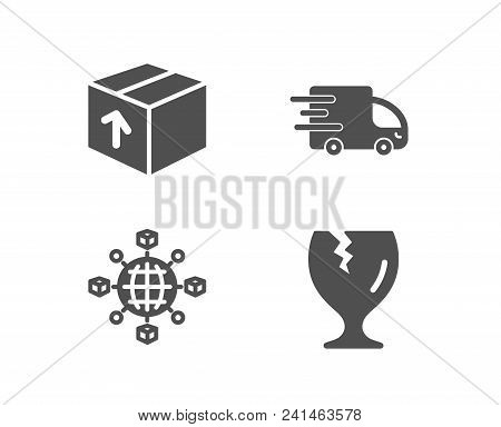Set Of Package, Truck Delivery And Logistics Network Icons. Fragile Package Sign. Delivery Pack, Exp