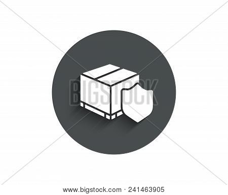 Delivery Insurance Simple Icon. Parcels Tracking Sign. Shipping Box Symbol. Circle Flat Button With
