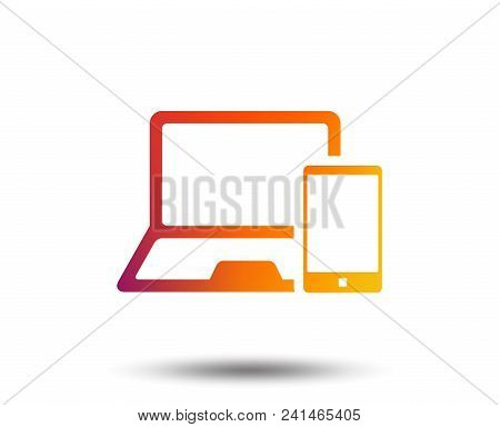 Mobile Devices Sign Icon. Notebook With Smartphone Symbol. Blurred Gradient Design Element. Vivid Gr