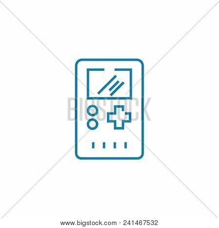Electronic Tetris Line Icon, Vector Illustration. Electronic Tetris Linear Concept Sign.