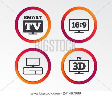 Smart Tv Mode Icon. Aspect Ratio 16:9 Widescreen Symbol. 3d Television And Tv Table Signs. Infograph
