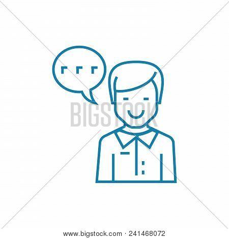 Enthusiastic Feedback Line Icon, Vector Illustration. Enthusiastic Feedback Linear Concept Sign.