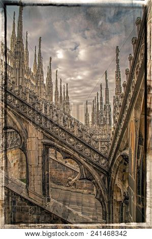 Old Photo With Architectonic Details From Roof Of The Famous Milan Cathedral, Lombardy, Italy. Famou