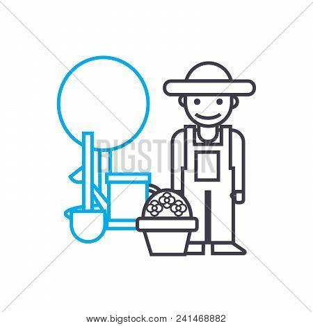 Farming Line Icon, Vector Illustration. Farming Linear Concept Sign.