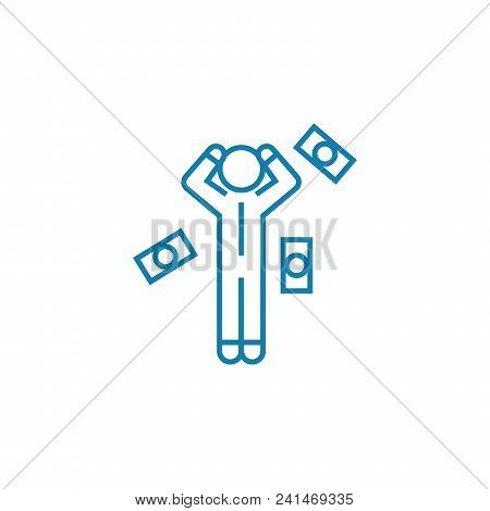 Financial Difficulties Line Icon, Vector Illustration. Financial Difficulties Linear Concept Sign.