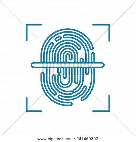 Fingerprint Scanning Line Icon, Vector Illustration. Fingerprint Scanning Linear Concept Sign.