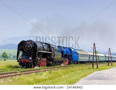 passenger train with steam locomotives (475.101+498.022), Strazovske Vrchy, Slovakia