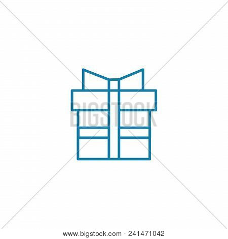 Gift Department Line Icon, Vector Illustration. Gift Department Linear Concept Sign.