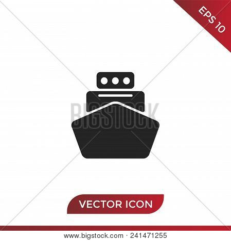 Ship Vector Icon Flat Style Illustration For Web, Mobile, Logo, Application And Graphic Design. Ship