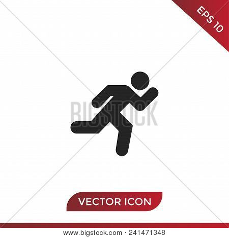 Running Vector Icon Flat Style Illustration For Web, Mobile, Logo, Application And Graphic Design. R