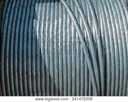 Steel Metal Coil Wire, Industrial Roll Cable Close Up