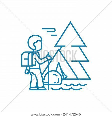 Hiking In The Mountains Line Icon, Vector Illustration. Hiking In The Mountains Linear Concept Sign.