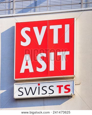 Wallisellen, Switzerland - September 23, 2017: The Sign Of The Svti On The Wall Of A Building. Svti