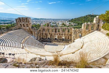 Panoramic View Of The Odeon Of Herodes Atticus At The Acropolis Of Athens, Greece. It Is One Of The