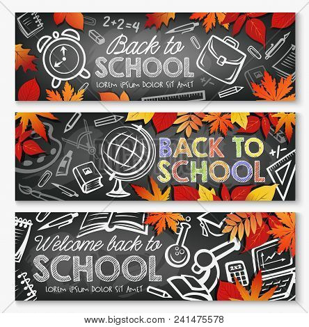 Back To School September Education Season Banners Of School Lessons Stationery And Books. Vector Sch