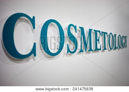 MOSCOW, RUSSIA - DEC 13, 2017: Logo on the wall of Genius Cosmetology clinic. Genius Cosmetology is the center of aesthetic medicine.