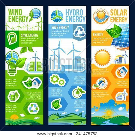 Save Energy Eco Banner With Renewable Resource Of Ecology And Environment Friendly Power. Green City