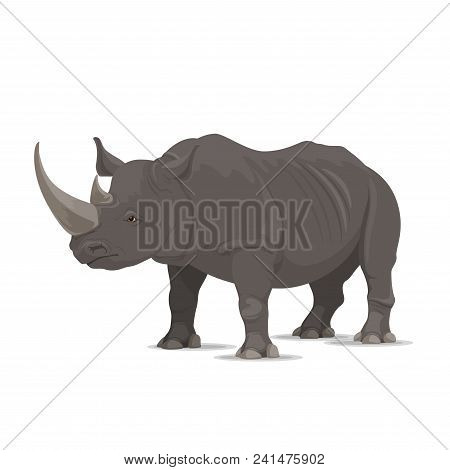 Rhinoceros Wild Animal Vector Icon Side View. Wild Wapiti Mammal Rhinoceros Species For Wildlife Fau