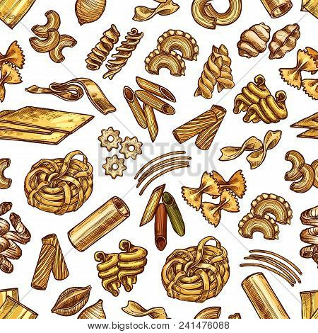 Pasta And Spaghetti Sketch Seamless Pattern. Vector Traditional Italian Cuisine Pasta Background Of