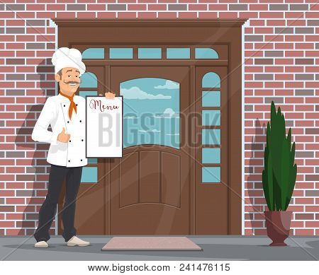Chef With Menu Inviting To Restaurant Or Cafe. Vector Flat Design Of Restaurant Facade Door And Man