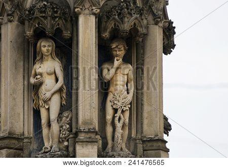 Adam & Eve: Stone Sculpture In France, Europe