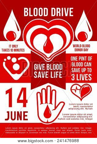 Vector Banner In Red Color, Concept Of Donation, Give Blood. Give Blood - Save Life, Celebration Of