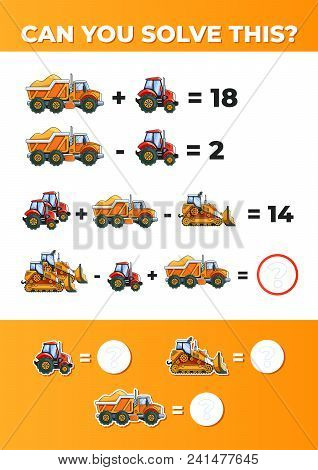 System Of Equations With Vehicles. A Math Task For Kids. Vector Eps10