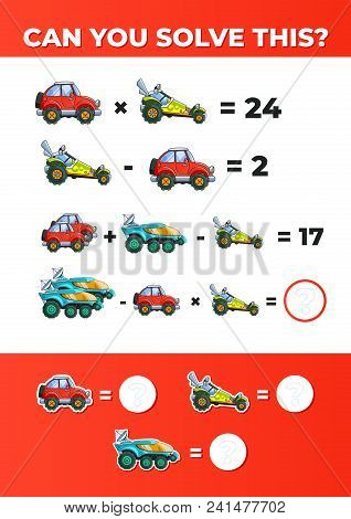 System Of Equations With Cars. A Math Game For Kids. Vector Eps10