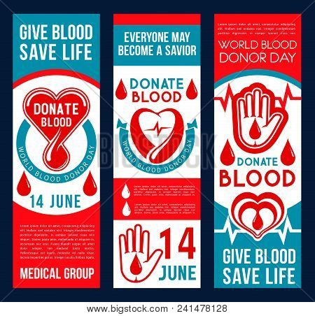 Donate Blood Vector Banners. Drop Of Blood And Hand Which Means Help And Charity. Concept Of Donatio