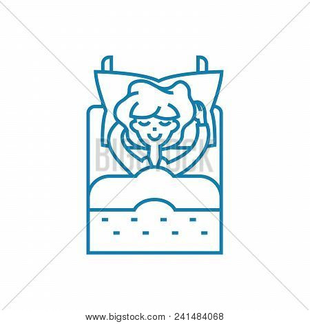Lying In Line Icon, Vector Illustration. Lying In Linear Concept Sign.